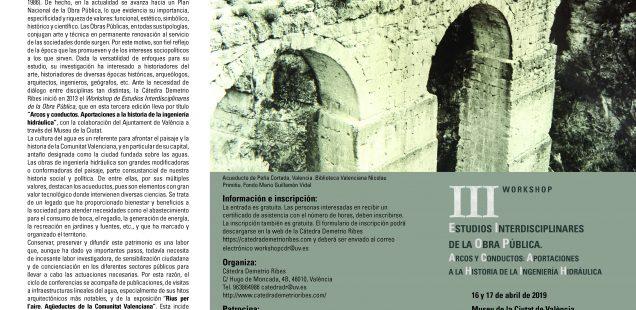 III Workshop de Estudios Interdisciplinares de la Obra Pública. Arcos y conductos: aportaciones a la historia de la ingeniería hidráulica