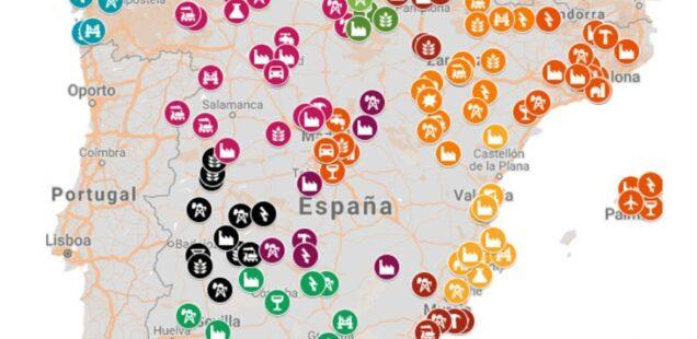 Mapa interactivo y fichas documentales del listado de elementos industriales